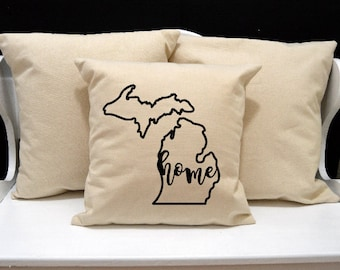 Michigan Home Pillow, Michigan, Michigan Pillow, Home Decor, Decorative PIllow, Throw Pillow, Home Pillow, State Pillow, Pillow Cover