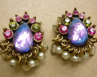 Florenza Crystal and Pearl Clip-on Earrings