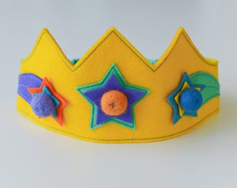 Wool felt crown, Shooting Star crown, Star crown, Birthday crown, Girls crown, Boys crown