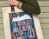 "Tote Bag - ""The Mountains Are Calling"" - Natu..."