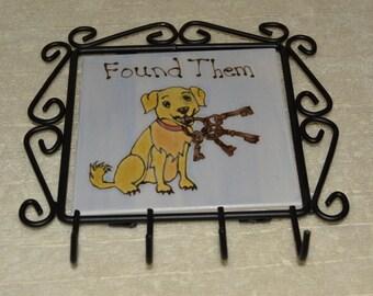 Key Holder, Cast Iron, 4 Hooks, Dog, Golden Retriever, Key Ring, Black,Blue, Golden, Bronze, Home Decor,