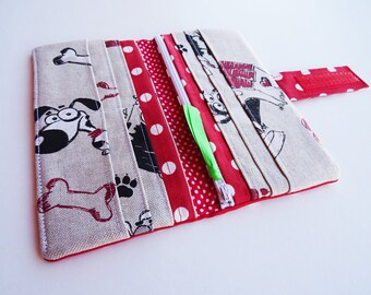 Dogs Wallet, Dogs Purse, Red Polka Dots Wallet, Red Wallet, Dogs Fabric Wallet, Long Wallet, Bi-fold Fabric Wallet, Vegan Wallet, Red Purse