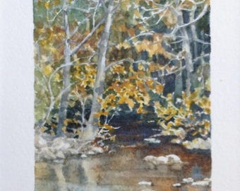 Miniature original watercolor landscape, autumn, fall scene. Choice of mat fits 8 X 10 frame. Creek, stream painting by Cinda Serafin