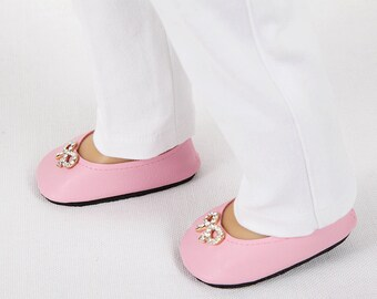 AG Doll Shoes, 18 Inch Doll Shoes - Modern Baby Pink Ballet Flats with Rhinestone Embellishment