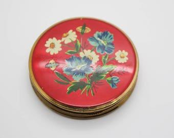 Round Vintage Brass Tone Flower Pattern Mirror Powder Compact