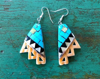 Native American shell dangle earrings mosaic inlay turquoise Santo Domingo Pueblo New Mexico Southwest