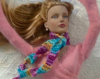 SALE 50 off/ Doll Scarf /Knitted Long scarf for 16 inch / Tonner Tyler Wentworth Sydney Gene Ellowyne  BJD MSD Art Doll clothes