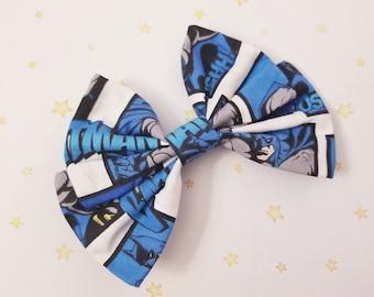 Kawaii Batman Comic Book Hair Bow Clip - Fairy Kei Decora Pastel Goth Harajuku inspired