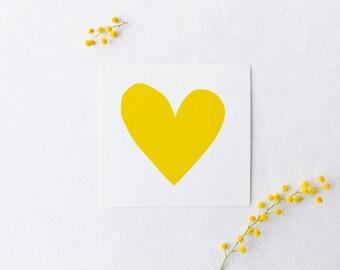 Yellow heart art - monochrome print - printable wall decor - Mother's Day DIY gift