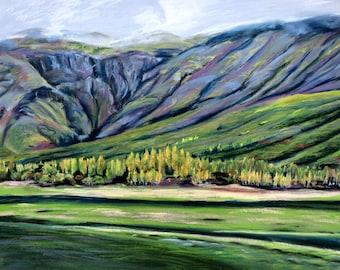 Iceland Landscape Painting: Aspens near Hjalmsstaoaa.