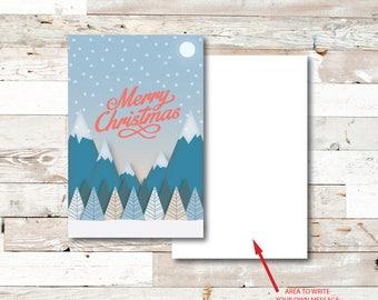 Merry Mountains Christmas Card - Christmas Card - Merry Christmas - Mountains - Holiday Card - Holiday - Greeting Card - Snow - Trees - Moon