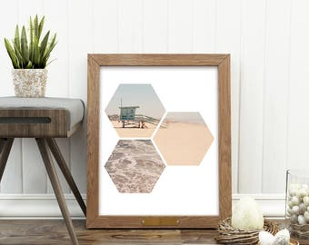 beach art, digital beach photograph, hexagon print, lifeguard stand art, ocean, nautical print, coastal decor, summer print, digital file