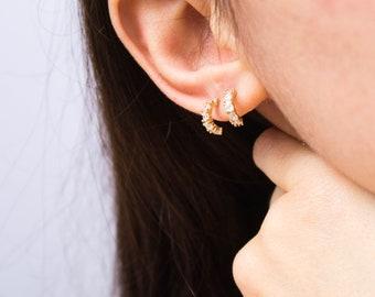 Sparkly huggie -earrings (16K gold plated mini hoop cubic zirconia earrings)