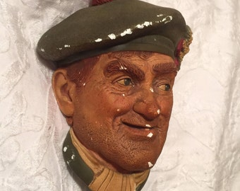 """Vintage Chalkware """"Jock"""" - 1969 Bossons - Jock Hand Painted - SIGNED and NUMBERED - Collectible Chalkware"""