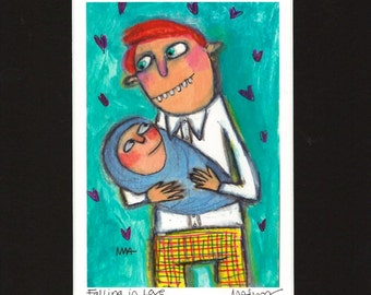 Falling in Love - Dad and baby, father, fatherhood art print, giclee by Murphy Adams