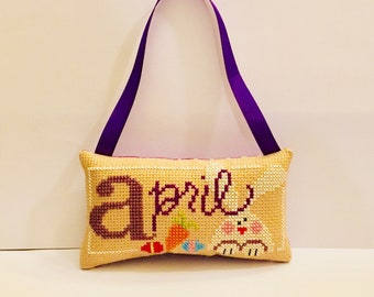 Easter gift, bunny, cross stitch ornament, gift for her, spring decoration, easter eggs, april, handmade, door decor, purple