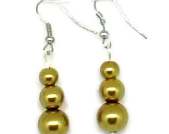 Gold Snowman Glass Pearl Beaded Earrings