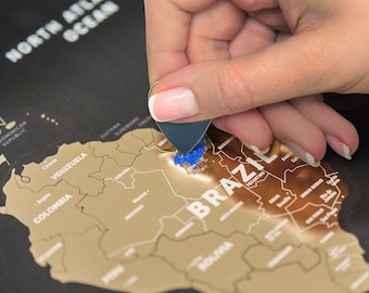 Scratch Off Map Black - The Only World Map Printed on Flexible Plastic  - FREE SHIPPING