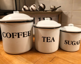 Coffee Tea Sugar Farmhouse Kitchen Canister Set