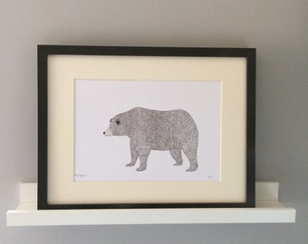 Mr Bear, nursery/ childs bedroom, illustration, Art print.
