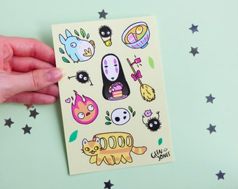 Ghibli Characters Sticker Sheet, Totoro, No Face, Anime, Calcifer, Japanese, Kawaii, Cute, Bullet, Journal, Stationary, Diary, Planner, pink