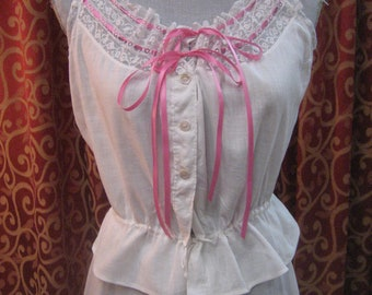 "1910''s, 34"" bust, white lawn cotton camisole"