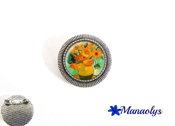 Antique silver round brooch, van gogh sunflowers, painting, art, 30 glass cabochons