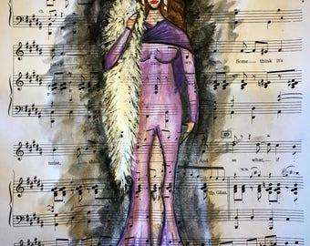 Purple chanteuse print
