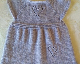 Knit baby dress Lavender 0-3 months