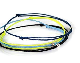Simple Bracelet For Men. Mens Thin Bracelet. Wish Bracelet. Blue Black Red String Bracelet. Friendship Bracelet. Silver Bead Bracelet.Surfer