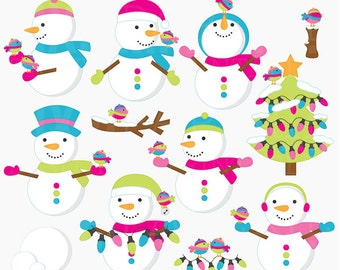 christmas clipart snowman clip art  - Frosty Friends Digital Clipart - BUY 2 GET 2 FREE