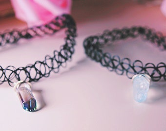 Quartz Crystal chokers and necklaces