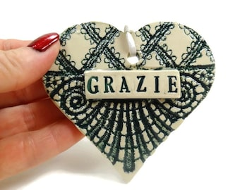 Grazie Ornament, Italian Thank You, Italian Ornament, Italian Teacher Gift, Italian Bridal Shower, Italian Decor, Grazie Sign, Italian Gift