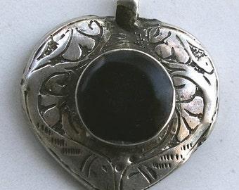 Vintage Turkmen Sterling Silver Pendant, Small Onyx Heart, 7