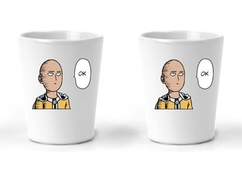 One Punch Man | Saitama OK | Shot Glass Set | Anime Gifts For Women And Men | Manga Lover Gift Idea | 1.5 Ounces 2 Pack