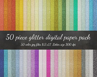 Digital Letter Paper - 50 Piece Glitter Paper Pack - Sparkly Glitter Scrapbook Paper Gold Silver Background Texture Pattern Scrapbook Paper
