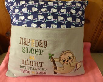 Sloth Reading Buddy Pillow 18 x 18 inches PILLOW CASE ONLY