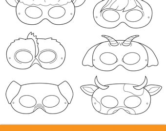 Barnyard Animals Printable Masks printable party masks farm