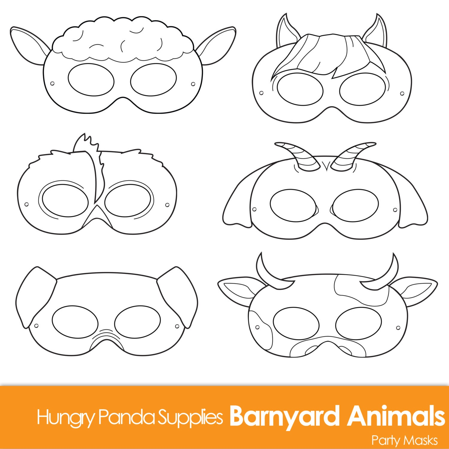 Barnyard Animals Printable Coloring Masks farm animal mask
