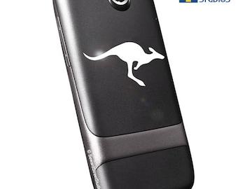 """Kangaroo Decal, Jumping Kangaroo Laptop Sticker, Leaping Kangaroo Car Sticker, Bounding Kangaroo Window Sticker / 1.50""""h x 2.75""""w - #652"""