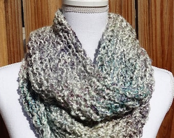 White, Teal, Purple, Pink, and Yellow Infinity Scarf