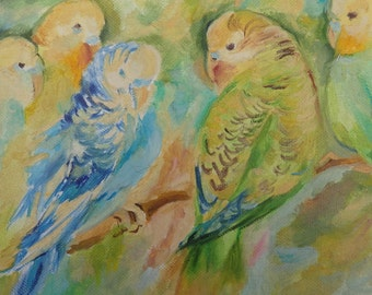 PARROTS Wildlife Birds Small OIL PAINTING Hand painted Impressionistic Fine Art Budgies Canvas Art 3D  Animal painting Square Wall Decor