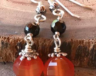 Orange Carnelien Earrings, Black Onyx Earrings, Halloween Earrings, Orange Pumpkin Earrings,  Fall Earrings, Jack O Lantern Earrings
