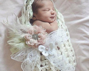 Hooded Cocoon, SEE 2nd PHOTO, Swaddle, Floral Brooch, Vintage Style, Cream, Ivory, White, Cocoon, Feathers,Ready to Ship, Newborn Photo Prop