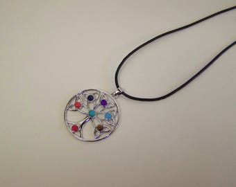 Tree of Life, Chakra Gemstone Bead Necklace on Leather Cord Chain with Clasp