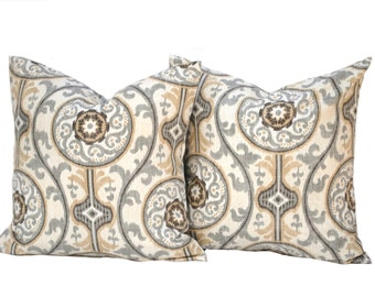 Two Medallion pillow covers,  Home decor, decorative pillow, throw pillow, Medallion pillow, Grey pillow, Tan Pillow, Fall pillow