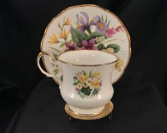 Teacup & Saucer QUEEN'S Fine Bone China Made in England A Churchill Brand Est. 1875 Floral Design, Gold Trim, Item #570129027