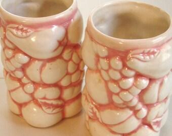 vintage set of fruity floral mug vases