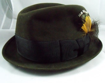 Vintage Mens Fedora with Feathers