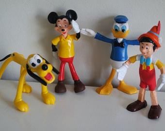 Vintage 70' flexible Brabo Disney figurine: Mickey, Donald, Pluto, Pinocchio